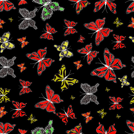 Illustration on white, black and red colors. Vector illustration. Scribble, sketch, doodle. Plaid butterfly for textile print. Seamless pattern. 일러스트