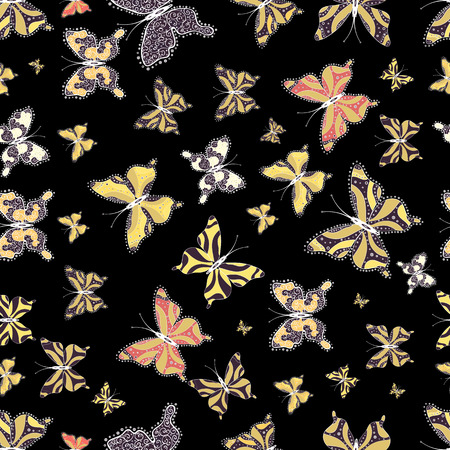Vector illustration. Abstract seamless pattern for girls, boys, clothes, sketch. Collection of colorful butterflies, flying in different directions.