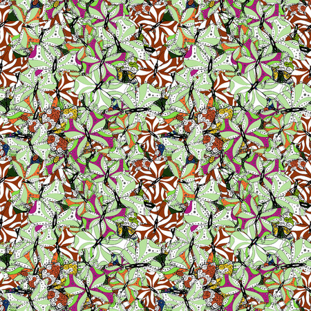Endless. Repeated butterflies. Vector illustration. Sketch, doodle, scribble. Cute girly seamless pattern drawn by hand. Illustration