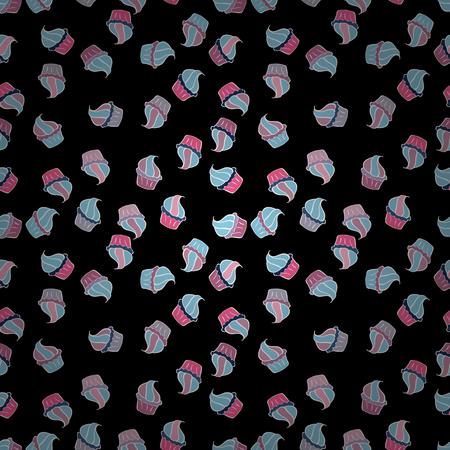 Naadloos patroon met zoet Cupcakes-patroon. De verjaardagsachtergrond van Nice op wit, zwart en blauw. Snoep achtergrondontwerp. Vector illustratie.