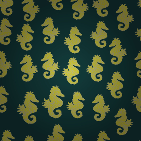 Pictures in yellow, neutral and green colors. Sea Horse. Decor on seamless background for clothing design. Vector illustration. In vintage style.