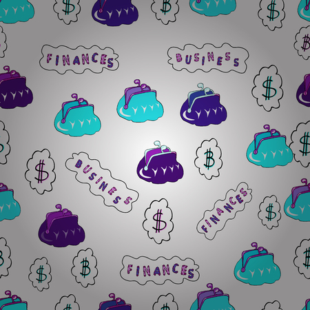 Cryptocurrency logo sigh. Block chain, finance symbol. On white, violet and blue colored background. Vector illustration. Flat style. Digital money. Seamless business pattern. Bitcoin concept.