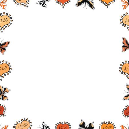 Square frames doodles. Seamless pattern. Illustration in white, orange and black colors. Vector illustration.