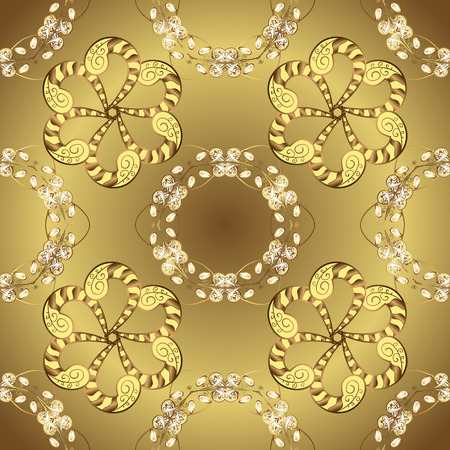 Vector abstract background with golden repeating elements on a brown and yellow colors. Seamless oriental classic golden pattern. 일러스트