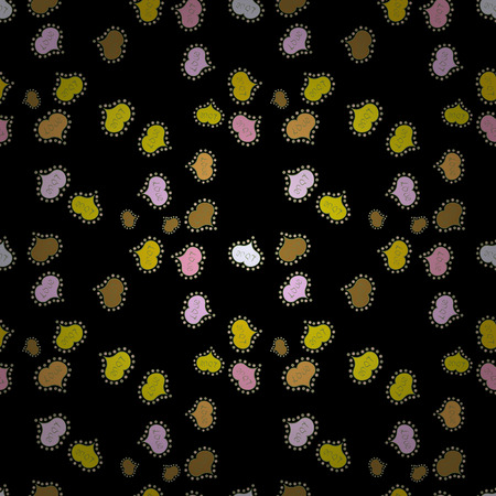 Vector. Seamless Doodles black, yellow and green on colors. Vintage. Stylish fabric pattern. 일러스트