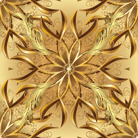 Adorno oriental de patrones sin fisuras. Diseño islámico. Impresión textil de oro del vector. Azulejos florales. Patrón dorado en colores beige y marrón con elementos dorados.