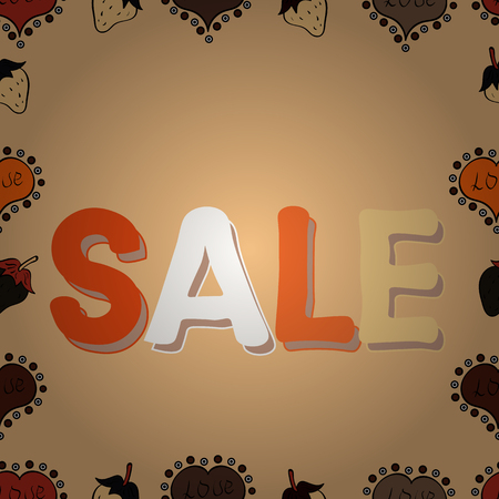 Picture in neutral, orange and beige colors. Vector illustration. End of season special offer banner. Seamless. Sale banner template design, Big sale special offer.