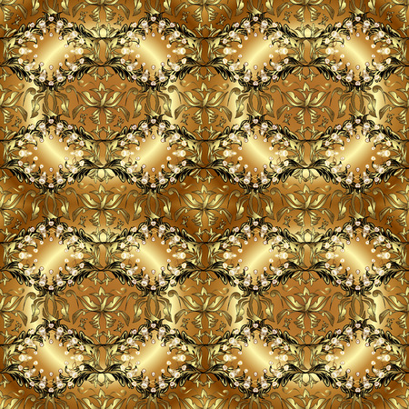 Vector. Arabesque texture abstract vintage background, floor tiles surface flower pattern. Gorgeous seamless patchwork pattern from colorful Moroccan, Portuguese tiles. Pattern in brown, beige colors. Illusztráció