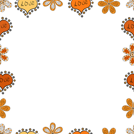 Blank white, yellow and orange square cadre rectangle label elegant sketches painted by hands scribble border. Vintage doodle sketch picture frame doodle labels. Vector. Seamless. Hand drawn frames.