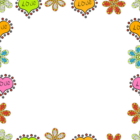 Vector illustration. Seamless. Element template. Frame doodle. Picture in black, white and green colors.