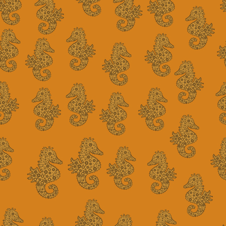 Repeated texture with cartoon characters. Seamless pattern with underwater animals: seahorse. Illustration on yellow, brown and orange colors. Simple Feminine Pattern for Card, Print. Vector.