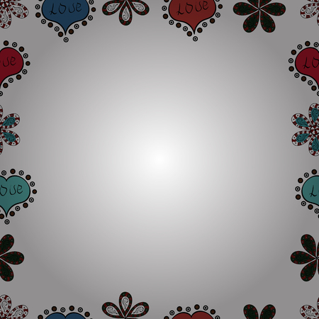 Seamless. Vector Background seamless pattern with hand drawn Frame doodle. Doodle frame consists of white, black and red border.