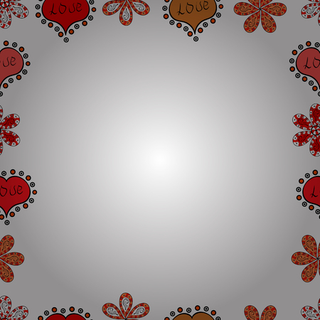 Seamless pattern. Illustration in red, white and orange colors. Square frames doodles. Vector illustration.