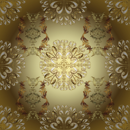 Oriental style arabesques golden pattern on a brown and neutral colors with golden elements. Vector golden pattern. Seamless textured curls.