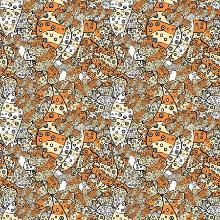 Vector sketch. It can be used on wallpaper, wrapping boxes, mug prints, baby apparels etc. Cute background. Black, orange and beige on colors. Doodles pattern. Seamless pattern Nice fabric pattern.