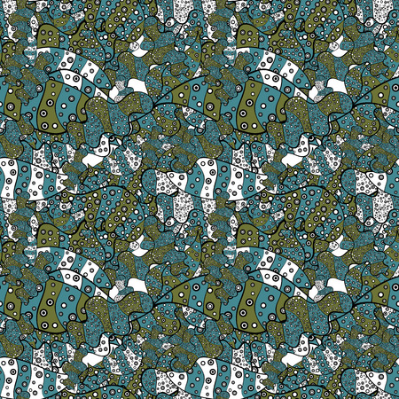 Vector - stock. Doodles on black, green and blue colors. Watercolor, hand drawn. Seamless background pattern.