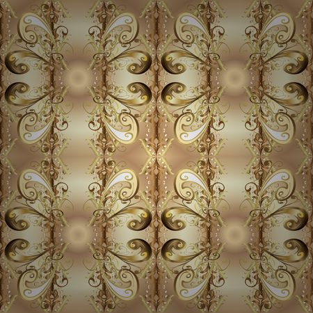 Vector illustration. Seamless abstract background. Oriental vector classic beige and brown and golden pattern.