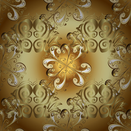 Damask seamless pattern repeating background. Golden element on yellow and brown colors. Golden floral ornament in baroque style. Antique golden repeatable sketch. Illustration