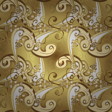 Luxury furniture. Pattern on yellow and beige colors with golden elements. Yellow and beige backdrop with gold trim. Furniture in classic style. Seamless element woodcarving. Small depth of field.