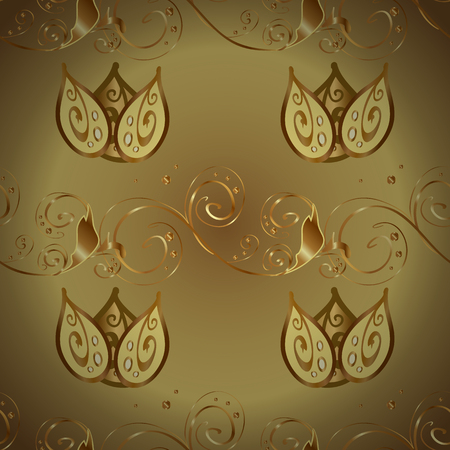 Traditional vector and golden pattern. Classic oriental pattern over yellow and brown colors. Damask seamless ornament. Иллюстрация