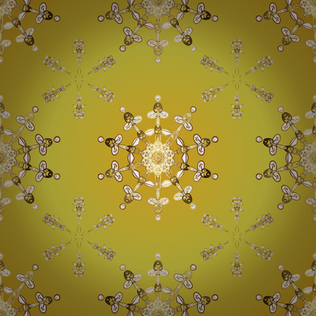 Damask seamless pattern repeating background. Antique golden repeatable sketch. Golden element on yellow and beige colors. Golden floral ornament in baroque style.