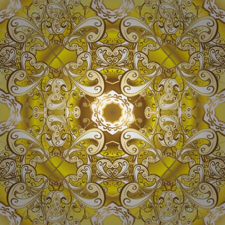 Elements yellow and beige on colors. Flat doodles. Cute fabric pattern. Vector illustration. Seamless Print. Design. 矢量图片