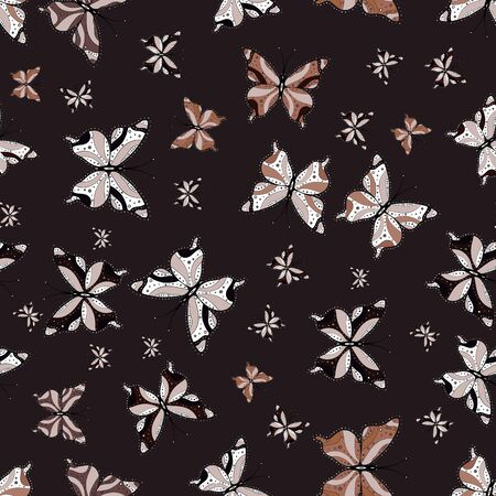 Seamless pattern with butterflies. Vector illustration. Endless. Abstract seamless pattern for boys, girls, clothes, sketch. Sketch, doodle, scribble. Vectores