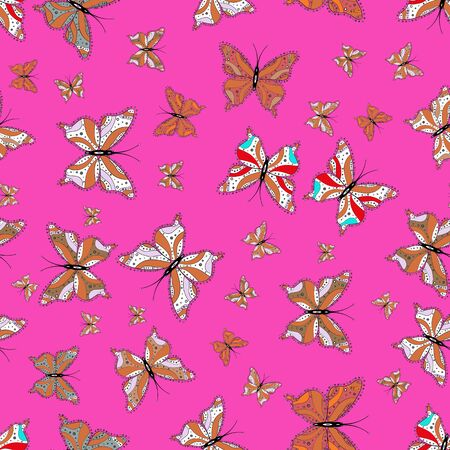 Nature butterfly repeat theme in white, orange and pink colors. Wildlife insect fauna backdrop for cover. Beautiful seamless butterfly iterative texture isolated on contrast back layer. Vector design.