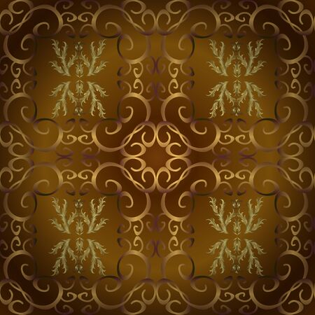 Seamless Beautiful fabric pattern. Orange and brown on colors. Nice background. Doodles cute pattern. Vector - stock. Illustration