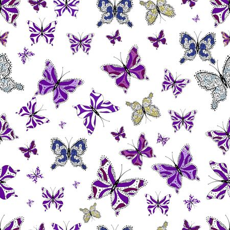 Collection of colorful butterflies, flying in different directions. Abstract seamless pattern for girls, boys, clothes, sketch. 写真素材 - 126965745