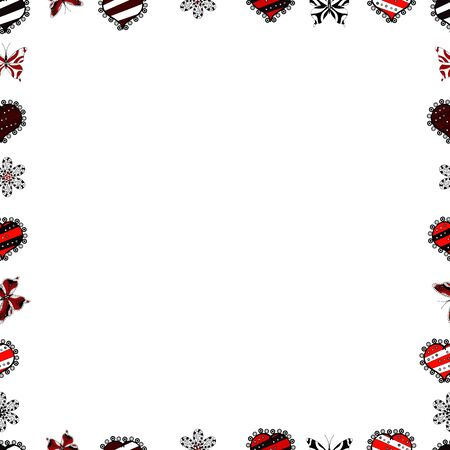 Vector. Seamless pattern. Vintage sketch picture frame doodle labels. Hand drawn frames. Blank black, red and white square cadre rectangle label elegant sketches painted by hands scribble border.