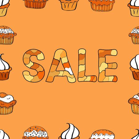Picture in orange, white and black colors. Weekend Sale Banner Template. Lettering. Seamless pattern. Vector illustration.