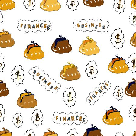 Seamless business pattern. Dollars. Business pattern on yellow, white and brown background. Vector. Bitcoin. Ilustração