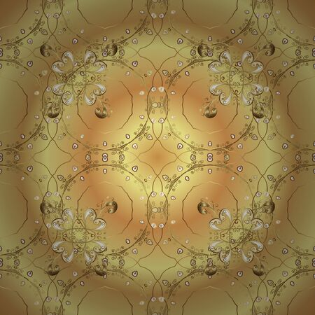 Royal style. Vector. Repeated doodles. Geometric pattern. Vector. Sketch, scribble, doodle on yellow, beige and brown colors. In vintage style. Linear pattern. Lace pattern. Seamless ornament. Ilustração