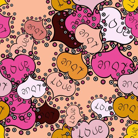 Seamless vector background with beige, pink and black hearts. Love, wedding, Valentines day design.