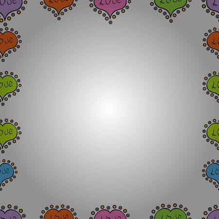 Hand drawn raster border frame doodles. Seamless. Raster illustration. 向量圖像