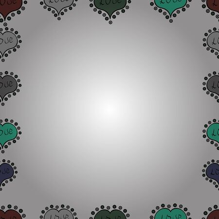 Raster. Comic style doodle frame consists of black, gray and white border. Seamless pattern.