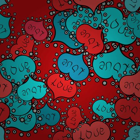 Raster illustration. Seamless pattern with realistic beautiful red, blue and black heart. Love and Holiday theme. Happy Valentines day. Ilustração