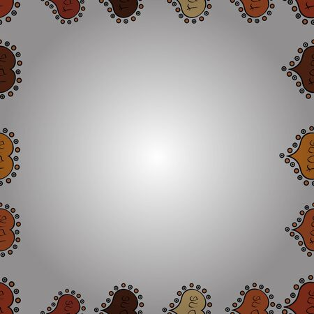 Picture in white, black and orange colors. Quadratic frames doodles. Seamless. Raster.