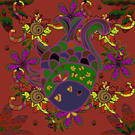 Fishe on brown, green and purple colord. Seamless colorful background. Raster illustration. Colorful cute texture fish pattern.