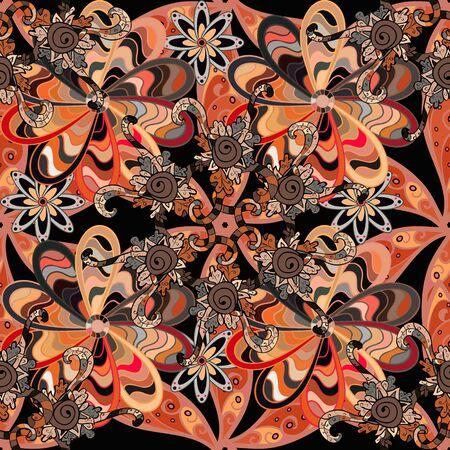 Seamless Elegant raster texture with floral elements. Doodles orange, beige and black on colors.