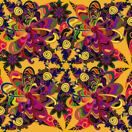 Stylish fabric pattern. Raster. Seamless Doodles yellow, purple and green on colors. Vintage.