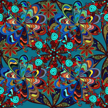 Doodles blue, brown and red on colors. Seamless Elegant raster texture with floral elements.
