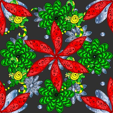 Floral pattern. Flower seamless on green, gray and red colors. Flourish ornamental spring garden texture. Flowers on green, gray and red colors. Raster illustration.