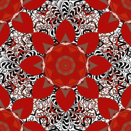 Red, white and brown colors. Colored mandalas element. Raster illustration.