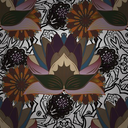 Raster illustration. Gentle, spring floral on white, brown and black colors. Raster floral pattern in doodle style with flowers.
