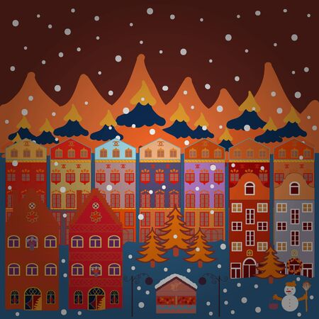 Can be printed and used as wrapping paper, wallpaper, textile, fabric, etc. Vector with houses and wild forest life with mountans. Vector illustration. Picture on brown, blue and orange colors. Illusztráció