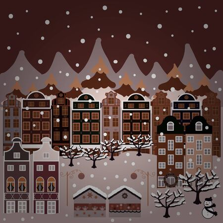 Unusual christmas illustration postcard on gray, neutral and brown colors. Amazing fairy house decorated at christmas in magical forest. Vector illustration.