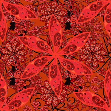 Gentle, cute floral background. Vector floral pattern in doodle style with flowers. Flowers on black, orange and red colors.