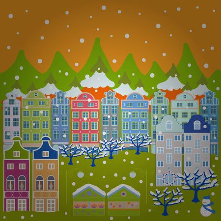 Rural community on blue, yellow and green colors. Colorful cute outdoors landscape. Vector village countryside scene background. Freehand drawn cartoon style. Among hills.